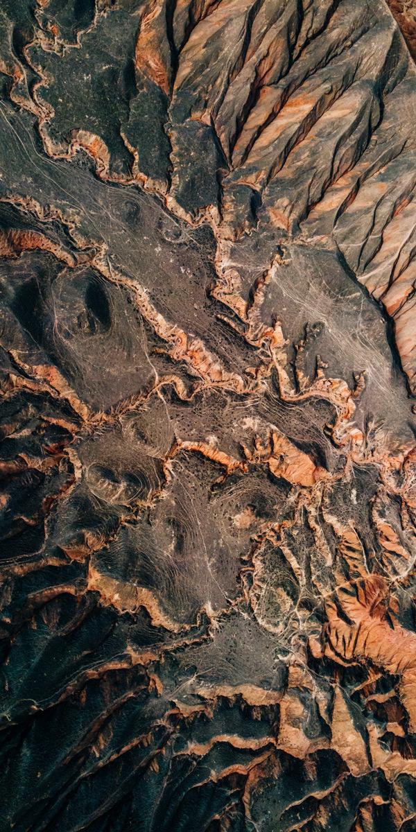 a satellite view of desert terrain